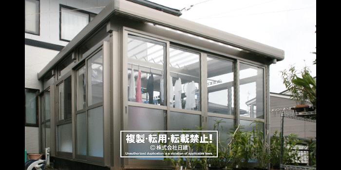 折板サンルーム(床付)×透明折板[圧倒的人気!折板カーポートのパイオニア的商品]